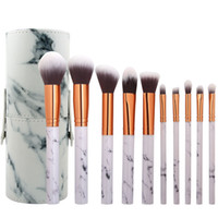 10pcs Marbling Makeup Brushes Set Kit Marble Pattern Cylinde...