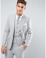 Ternos de casamento cinza claro para noivo smoking vestido homens terno 3 peça de alta qualidade 2021