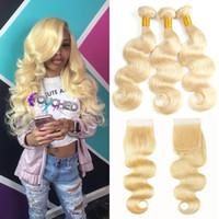 Brasilianische Körperwellen-Menschenhaar-Webart 3 Bündel 613 blonde Menschenhaar-Bündel mit freiem Teil-Spitze-Schließungs-Honig-Platin-Jungfrau-Haar 4x4