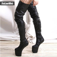 Frauen schritt stiefel 20 CM Pony Heelless Sexy Fetisch Weibliche Überkniehohe Stiefel NO-heel Neue Design plattform Unisex Boot Man kostüm ball