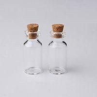 Bouteilles en verre 2ml Flacons clair avec bouteille en verre Mini Lièges bois vide Cap Jars Petit échantillon 16x35x7mm (HeightxDia) Artisanat Mignon Souhait Bouteilles