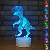Creativo colorido del dinosaurio 3D Noche de acrílico luz LED táctil de 7 cambio de color de tabla del escritorio de luz de lámpara decorativa del partido