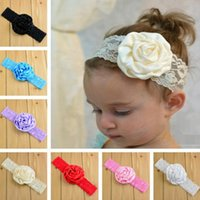 2018 hot sell 14 Color Baby Lace rose flower Headbands NEW G...