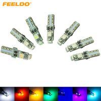 FEELDO 50PCS DC12V Coche T5 74 17 0.5W 3SMD 1210/3528 Bombilla LED sin errores Canbus 7 colores # 2085