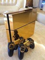 Golden glänzend PVC Vinyl Haut Chrom Galvanik Aufkleber für Sony PS4 PlayStation4 Konsole und 2 Controller