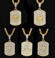 2018 Gold Farbe Bling Bling Hundemarke Jesus Anhänger Halskette Iced Out 70 cm Lange Halsketten Mode Hip Hop Schmuck