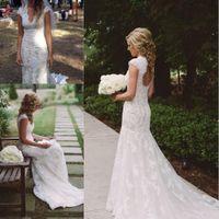 2018 Vintage Ülke Gelinlik V Boyun Cap Kollu Kat Uzunluk Dantel Cowgirls Backless Gelin Boho Ucuz Gelinlikler vestido de novia