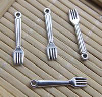 Venta al por mayor 100 unids mini tenedor retro antiguo plata aleación encanto colgante joyería hallazgos joyería haciendo regalo de bricolaje 24 * 5mm