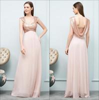 Gerçek Görüntü Gül Altın Sequins Uzun Gelinlik Modelleri Dantelli Şifon Backless Düğün Konuk Parti Onur Elbise Abiye CPS785
