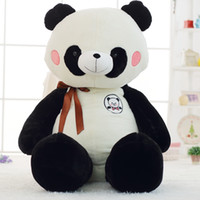 Shy Panda Giant Plush Toy Silk Bow Sitting Lying Hugable Pan...