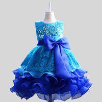 ГОРЯЧЕЕ девушки вышивки блесток шнурка цветка платья слои Пачка платье принцессы девушки день рождения партия танец платье Тюль платье D17
