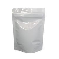 8.5 * 13cm blanc papier d'aluminium brillant se lever sac d'emballage de fermeture à glissière 100pcs / lot Doypack séché sachets d'emballage de stockage de poudre de thé alimentaire Mylar