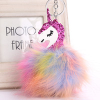 Juelee Colorful Fluffy Unicorn Keychain Pompom Rabbit Fur Ke...