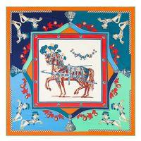 Nueva llegada sarga bufanda de seda mujer bufanda cuadrada Francia guerra caballo impresión moda seda bufandaWraps Hijab chales femeninos 130cmx130cm