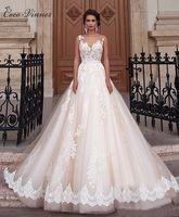 Новое прибытие Sexy Линия-Кружева Свадебное платье Романтическое Robe De Mariage Платье De Noiva Sheer Backless платья невесты