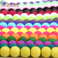 OlingArt Rubber Glass  High quality 100PCS 8mm Candy Color Neon Matte Loose  Handmade jewelry making bracelet DIY