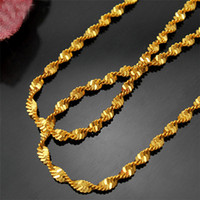 Fashion Women Men Chain Jewelry Yellow Gold Pleated Color 50cm Water Wave Chain Womens Mens Chains Necklaces for Pendants