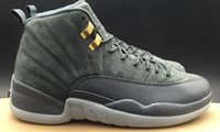 AAAAA Retros 12 Grey Suede Leather Basketball Shoes, Real Car...