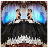 2021 formal gótico preto doce 16 masquerade quinceanera vestidos com laço branco árabe vestidos 15 anos menina aniversário vestidos de baile personalizado