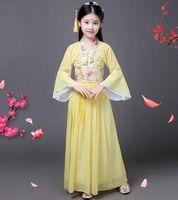 2018 Yeni stil çocuk Cosplay Han Hanedanı kız Küçük prenses kostüm Sarı mor kırmızı Dans Peri performans etek uzun tarzı