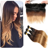 Straight #1B 4 27 Honey Blonde Ombre Peruvian Virgin Hair wi...