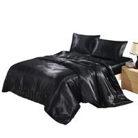 الصلبة اللون الحرير فو الحرير الفراش مجموعة أسود غطاء لحاف مجموعة غطاء السرير حريري الولايات المتحدة التوأم الملكة الملك المملكة المتحدة واحدة مزدوجة الملك