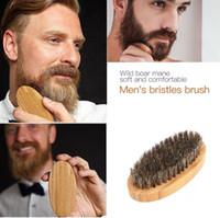 Bıyık Sakal Fırçası Doğal Domuzu Kıl Yuvarlak Kolu erkek Yüz Mesajı Yüz Saç Sakal Tarak Tıraş Porsuk Fırçalar