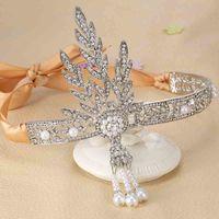 The Great Gatsby Bridal Hair Accessories Crystal Pearl Tassels Hair  Headbands Hair Jewelry Wedding Brides Hairband Tiaras Crowns S918 96d55ea304dd