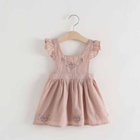 Everweekend Girls Ins Pink Cotton Lino Ruffles Party Dress Fly Sleeve Ruffles e Back Cross Fashion Summer Dress
