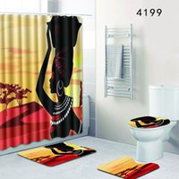 The 4 sets bathroom carpet rug Shower curtain African woman ...