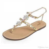 Tongs Femme Sandales Femmes Chaussures Strass Chaînes Flat hee Sandales Cristal Chaussure Plus tenis feminino FKD-R356