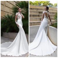 Robes de mariée de mariée à col haut-encolure Robes de mariée personnalisées Robes de mariée officielles 2018 Vente pas cher Vestidos de Novia Satin