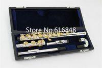 MARGEWATE Gümüş Kaplama Flüt FL-362 Küçük Dirsek Başkanı 16 Anahtar Delikler Açık Gümüş Gövde Altın Anahtarlar C Ayarlama Flüt Enstrüman Flauta