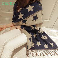 DELOS European Style Double Cashmere Long Scarf Tassel Shawl...