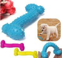 2018 años resistente al mordisco Hueso Perro Cachorros Molares Juego de pelota de goma para los dientes de entrenamiento térmico de goma de plástico TPR Pet Dog Toys 10 * 4 CM