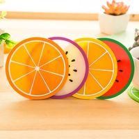 새 테이블 액세서리 주방 가제트 캔디 컬러 과일 모양 실리콘 컵 매트 코스터 미끄럼 방지 절연 패드 LX3605