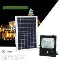 Solar Floodlight Sensor 100W 50W 30W 20W 10W 85LM / W Pannello celle di carica Carica batterie Esterne Impermeabili Lampade industriali PIR Motion Induction
