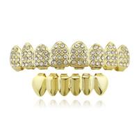 hip hop grillz chapado en oro real parrillas dentales rapero joyería del cuerpo accesorios de Halloween diamantes de juguete del partido dientes superiores dientes inferiores lisos