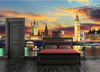 London Night City Mural Scenery Big Ben 3d Wall Mural Wallpa...