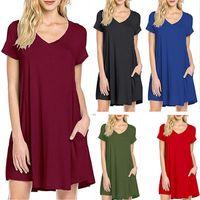 Massive Kleid Baumwollsommer V-Ausschnitt Kurze Ärmel mit großer Taschendesign Casual Frauen Kleider Böhmisches Boho Kleid