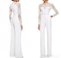 2019 Nueva madre blanca de la novia trajes de pantalón mono con mangas largas de encaje adornado de las mujeres ropa de noche formal por encargo