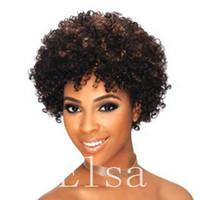 Pas cher Naturel noir Short Cut Kinky Bouclés Afro Curl Perruque de Cheveux de Remy Humains Pleines Perruques Pour Les Femmes Noires Perruque Naturelle Sans Colle Perruques