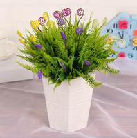 Wholesale yellow purple flower arrangements buy cheap yellow artificial flowers arrangement plastic green grass decoration for home wedding decoration flowers plants mightylinksfo