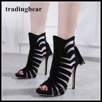 New black meshy patchwork peep toe ankle bootie sexy pumps d...