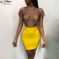 Бонни лес Сексуальная Высокая Талия желтый мини-юбка + прозрачный точка печатных топы женская партия ночной клуб два 2 шт. набор наряд