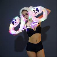 CC63 бальный танец светодиодные костюмы световой красочный свет женщины платья подиум сценическое шоу носит ткань косплей перчатки шарф бар производительность