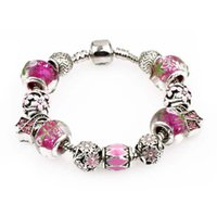 Donne regalo 925 argento sterling fascino perlina Bloom Pendente clip clip charms rosa fit braccialetti donne gioielli fai da te