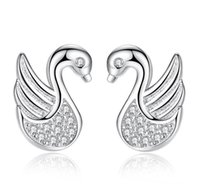 High quality Crystal Swan Stud earring Fashion jewelry for w...