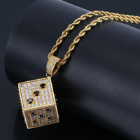 Hip Hop Shiny Square Dice Pendant Necklace Copper Gold Silver Color Iced Out Cubic Zircon Men Jewelry