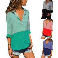 US Spring Women Causal Blusa Camisas Mujer Manga Larga Pullover Mujeres Contraste Color Top Clothing Plus Size